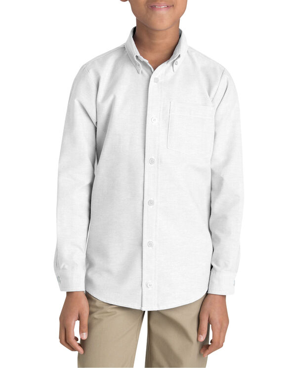 Boys' Long Sleeve Oxford Shirt, 6-20 - White (WH)