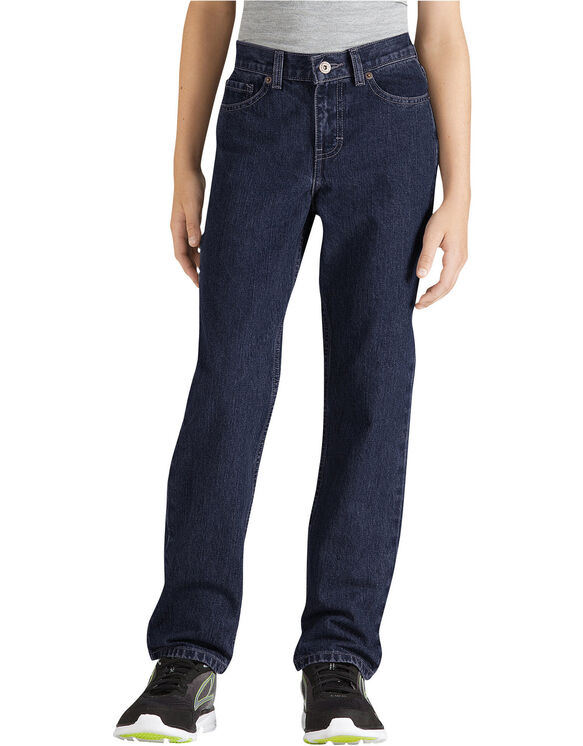 Boys' FlexWaist® Slim Fit Straight Leg 6-Pocket Denim Jeans, 8-20 - Rinsed Indigo Blue (RNB)