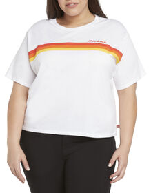 Dickies Girl Juniors' Plus Size Tomboy T-Shirt with Rainbow Chest Striped - White (WHT)