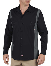 Industrial Color Block Long Sleeve Shirt - Black Dark Gray Tone (BKCH)