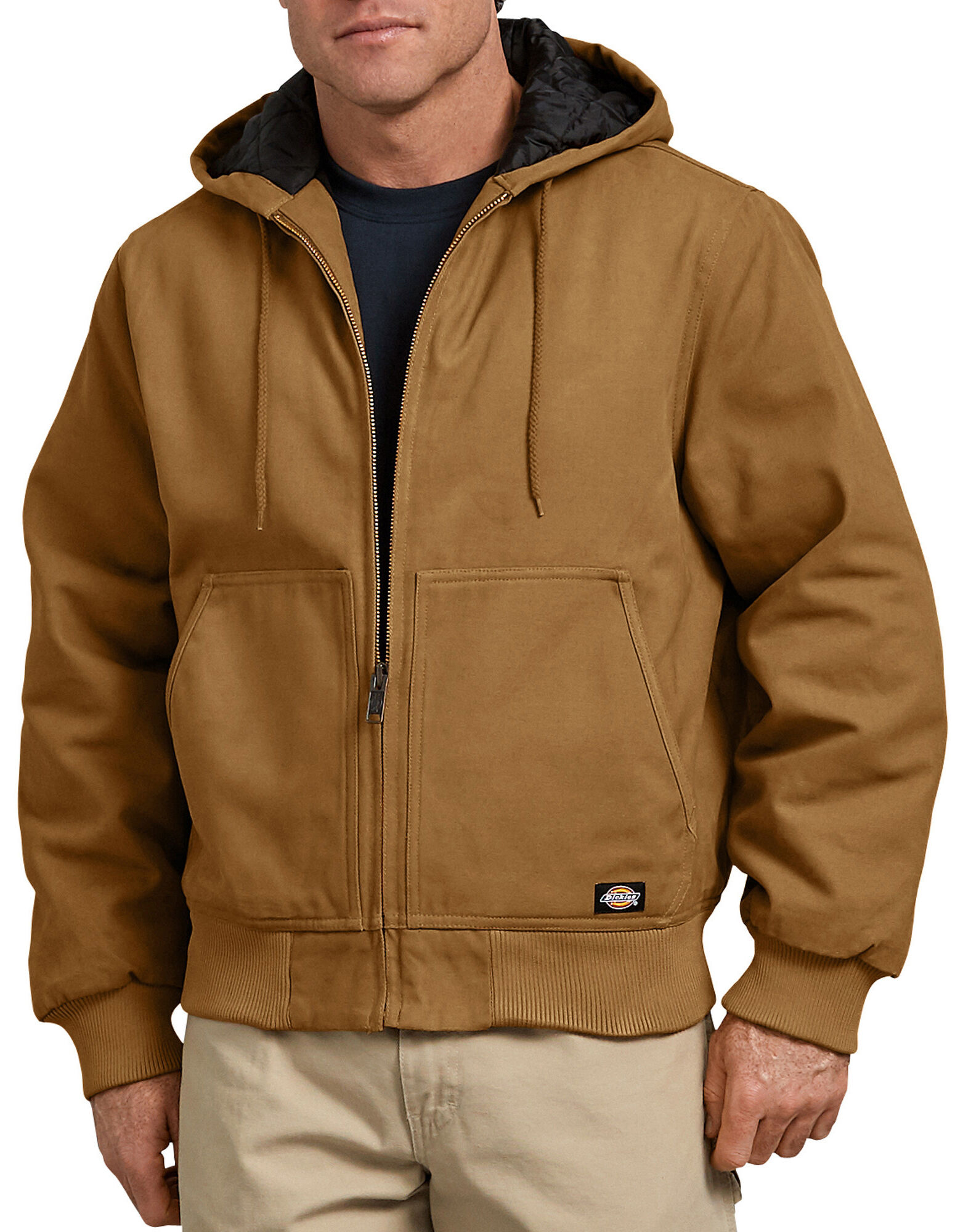 Sanded Duck Hooded Jacket For Men Dickies Jaket Parka Blazer Baby Canvas Cotton Brown