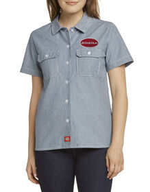 Dickies Girl Juniors' Short Sleeve Work Shirt with Patch - Blue White Hickory Stripe (HS)