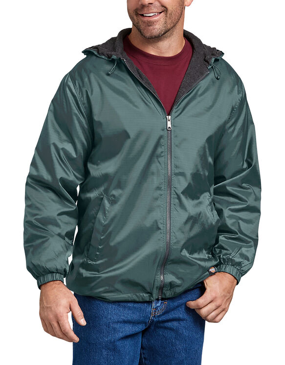 Fleece Lined Hooded Nylon Jacket - Lincoln Green (LN)