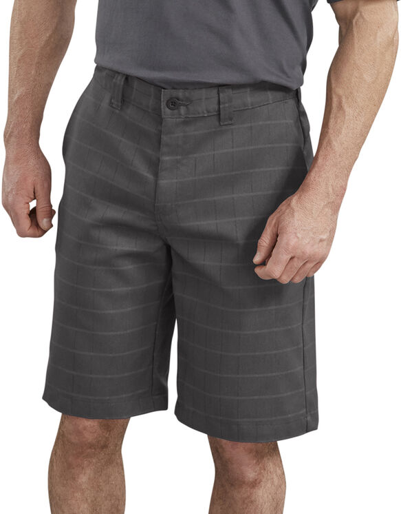 "11"" FLEX Relaxed Fit Shadow Plaid Shorts - Slate Gray (SL)"