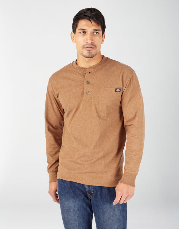 Long Sleeve Heather Heavyweight Henley Shirt - Brown Duck Heather (BDH)