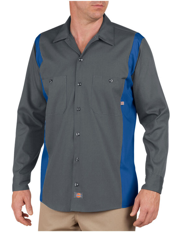 Industrial Color Block Long Sleeve Shirt - Charcoal/Royal Blue (CHRB)