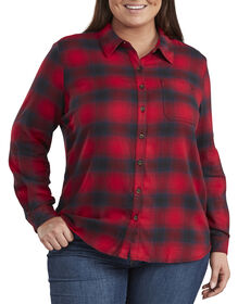 Women's Long Sleeve Plaid Shirt (Plus) - Navy Blue Red Plaid (EI2)