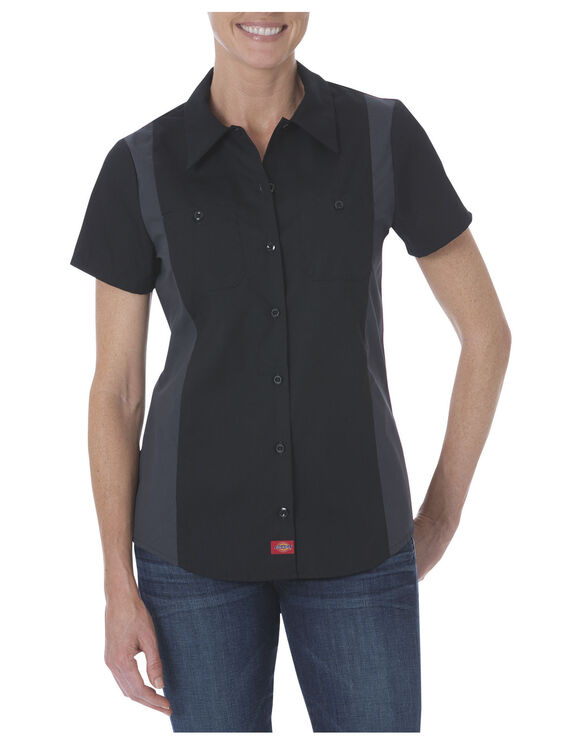 Women's Industrial Short Sleeve Color Block Shirt - Black Dark Gray Tone (BKCH)