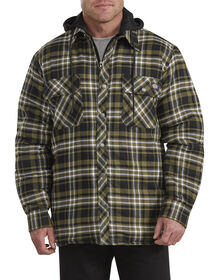 Relaxed Fit Icon Hooded Quilted Shirt Jacket - Military Green White Plaid (PET)