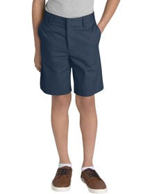 Young Adult Sized Classic Fit Flat Front Shorts - DARK NAVY (DN)