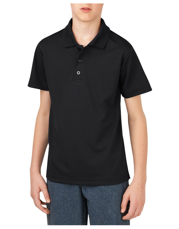 Boys' Performance Short Sleeve Polo Shirt, 8-20 - BLACK (BK)