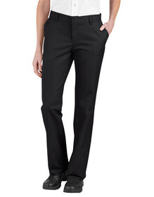 Women's Relaxed Fit Flat Front Pants - Black (BK)