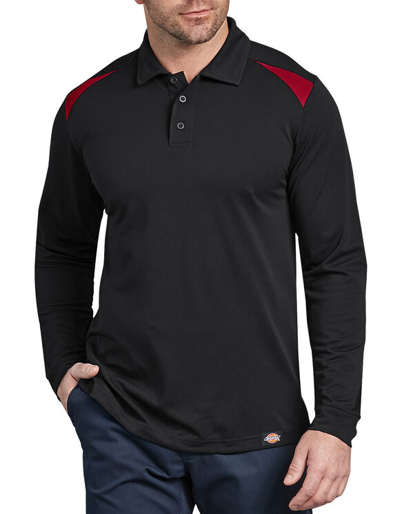 Long Sleeve Performance Polo Shirt - Black Red Tone (BKER)