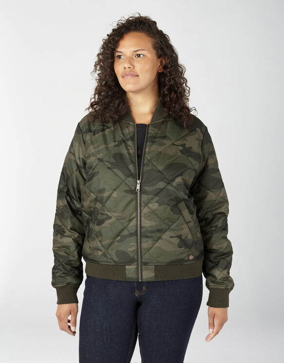 Women's Plus Quilted Bomber Jacket - Sage Green Camo (AGC)