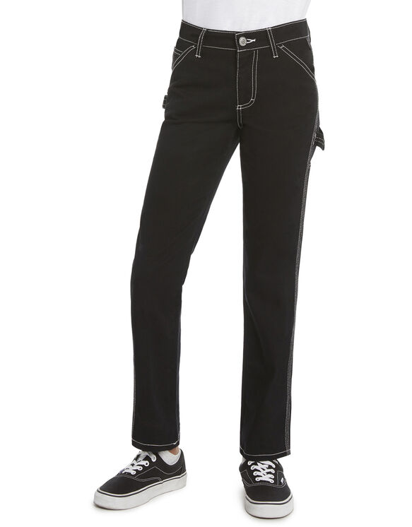 Dickies Girl Youth Carpenter Pants, Size 7-16 - Black (BLK)