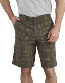 "Dickies X-Series 11"" Active Waist Washed Yarn Dyed Shorts - Moss Green Plaid (ROP)"