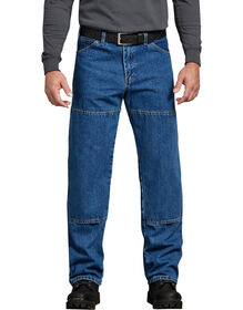 Relaxed Fit Workhorse Double Knee Denim Jeans Stonewashed - Stonewashed Indigo Blue (SNB)