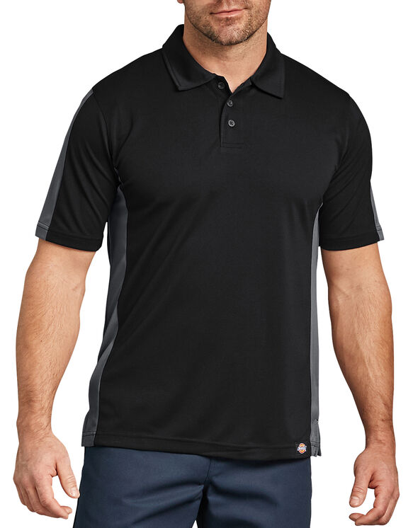 Industrial Color Block Performance Polo Shirt - Black Dark Gray Tone (BKCH)