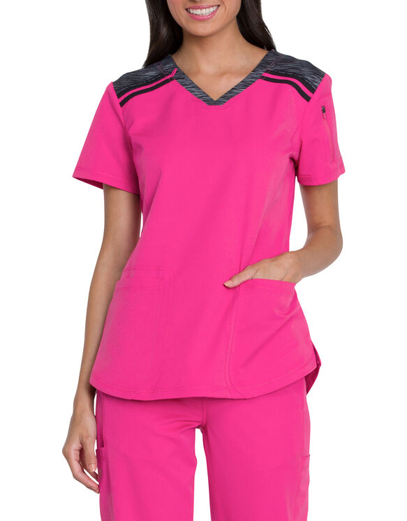 Women's Dynamix Mélange V-Neck Scrub Top - Hot Pink (HPK)