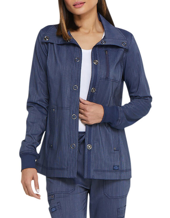 Women's Advance Two-Tone Twist Snap Front Jacket - Navy Blue (NVY)