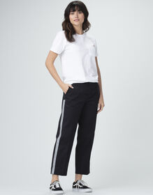 Women's Silver Reflective Ankle Pants - Rinsed Black (RBK)