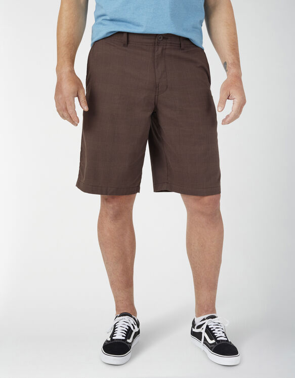 "Dickies X-Series 11"" Active Waist Washed Yarn Dyed Shorts - Chocolate Brown Plaid (PCB)"
