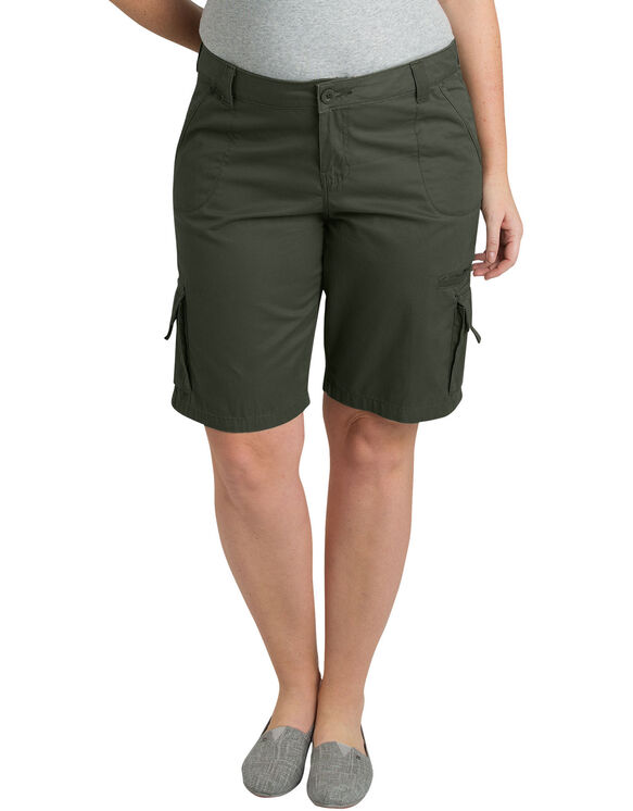 "Women's Plus 10"" Relaxed Fit Cotton Cargo Shorts - Leaf Green (RGE)"