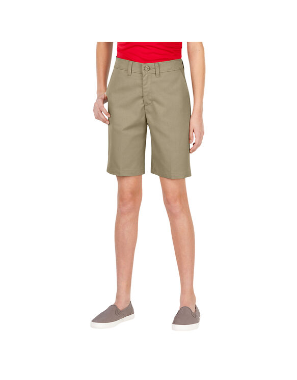 Girls' FlexWaist® Slim Fit Flat Front Shorts, 4-20 - Desert Khaki (DS)