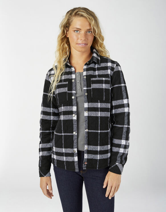 Women's Quilted Flannel Shirt Jacket - Black/White Plaid (KIP)