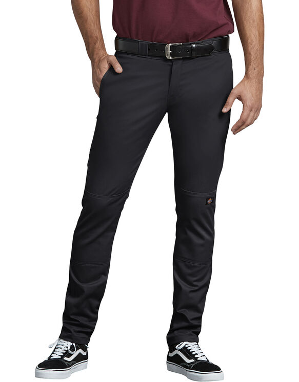 FLEX Skinny Straight Fit Double Knee Work Pants - BLACK (BK)