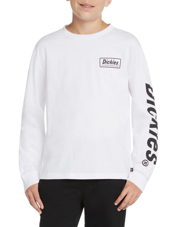Boys' Long Sleeve Graphic T-Shirt - White (WHT)