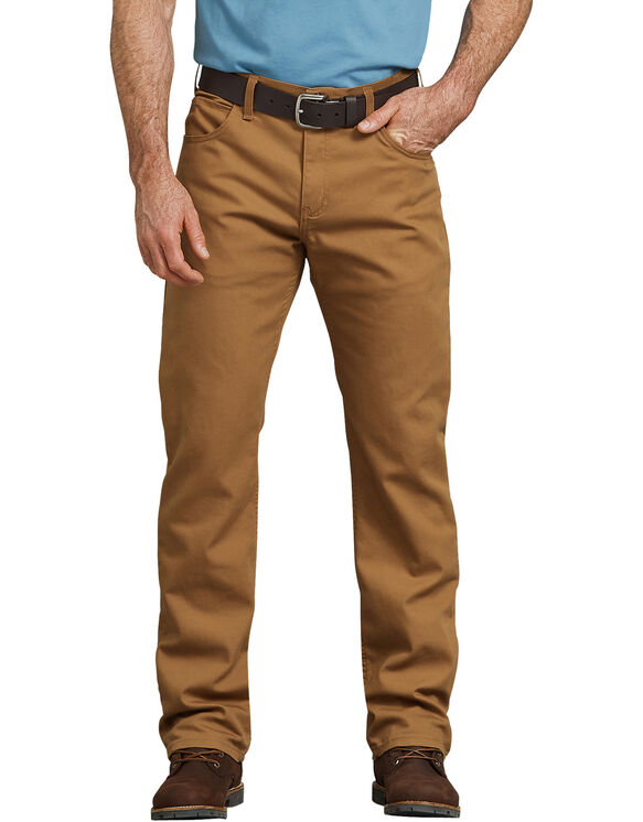 FLEX Regular Fit Straight Leg Tough Max™ Duck 5-Pocket Pants - Stonewashed Brown Duck (SBD)