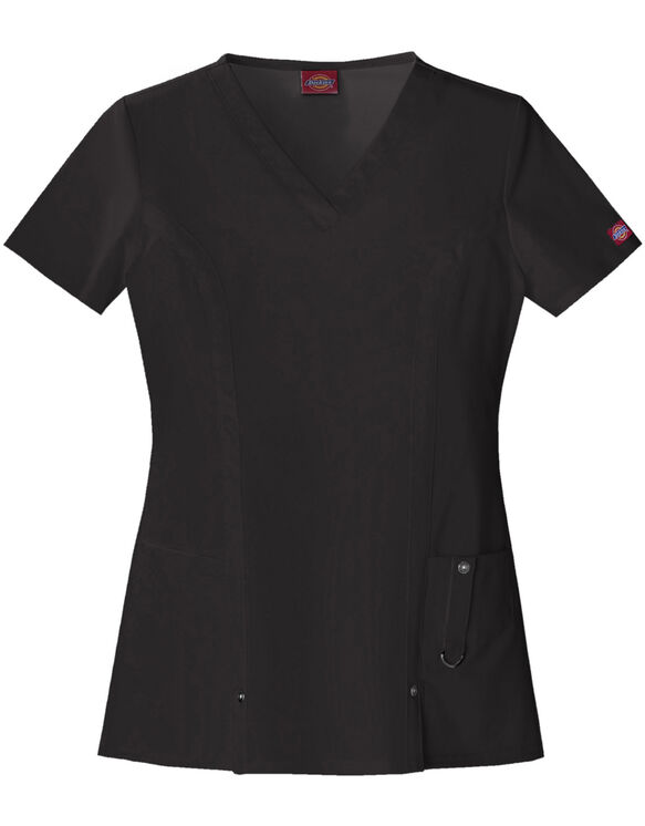 Women's Xtreme Stretch V-Neck Scrub Top - Black (BLK)