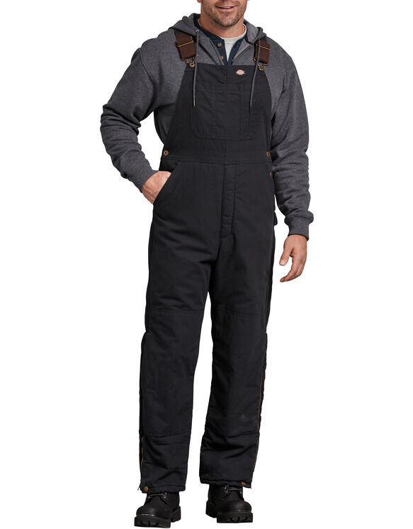 Sanded Duck Insulated Bib Overalls - Black (RBK)