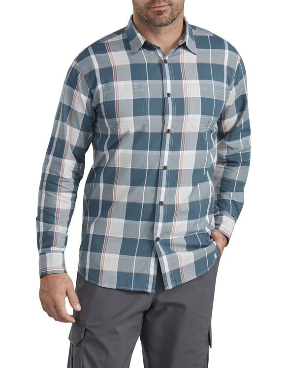 Relaxed Fit Icon Long Sleeve Stonewashed Plaid Shirt - Blue  Plaid (SWUC)