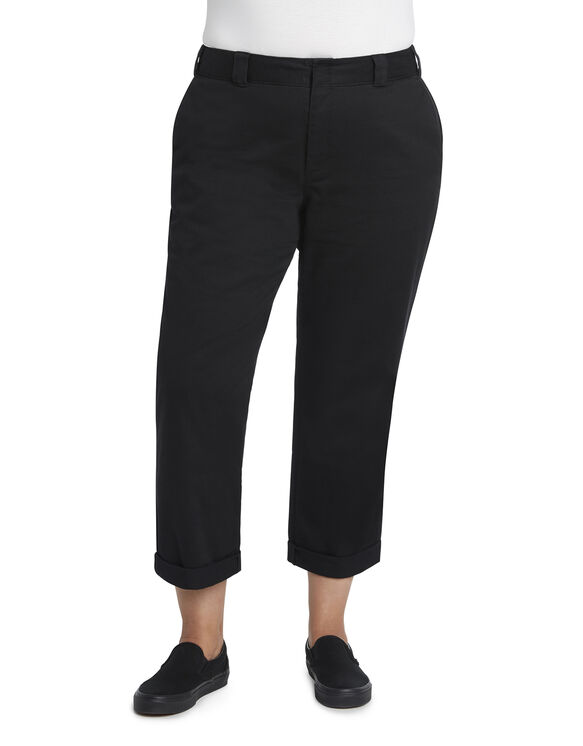 Dickies Girl Juniors' Plus Size Roll Hem Crop Work Pants - Black (BLK)