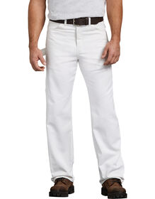 Relaxed Fit Straight Leg Polyester-Blend Premium Painter's Pants - White (WH)