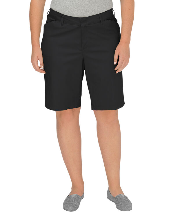 "Women's 10"" Relaxed Fit Stretch Twill Shorts (Plus) - Black (BK)"