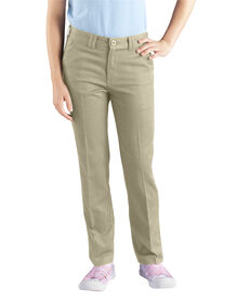 Girls' Skinny Fit Straight Leg Stretch Twill Pants, 7-20 - Desert Khaki (DS)
