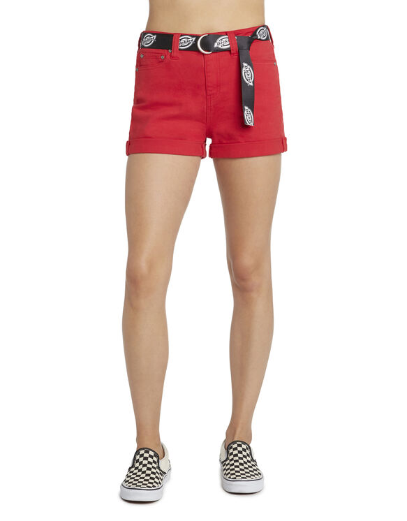 "Dickies Girl Juniors' Belted Roll Cuff 2.5"" Inseam Mom Shorts - Red (RD)"
