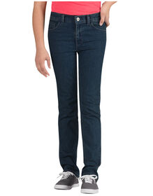 Girls' 5-Pocket Skinny Fit Straight Leg Denim Jeans, 7-20 - Stonewashed Medium Blue (MNT)