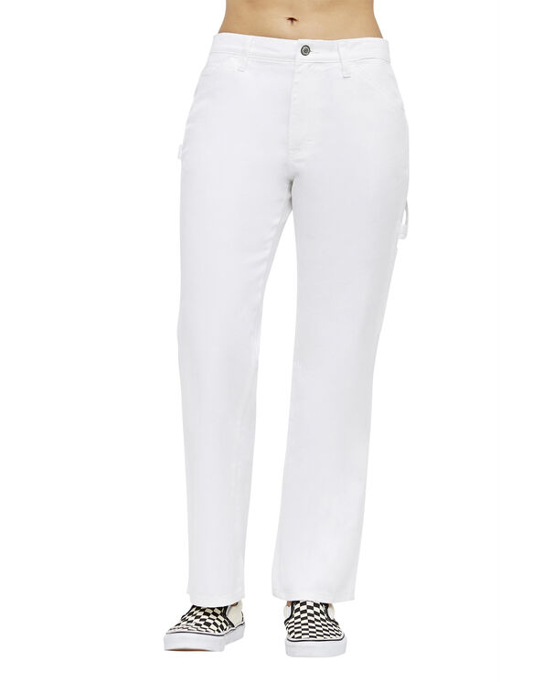 Dickies Girl Relaxed Fit Carpenter Pants - WHITE (WHT)