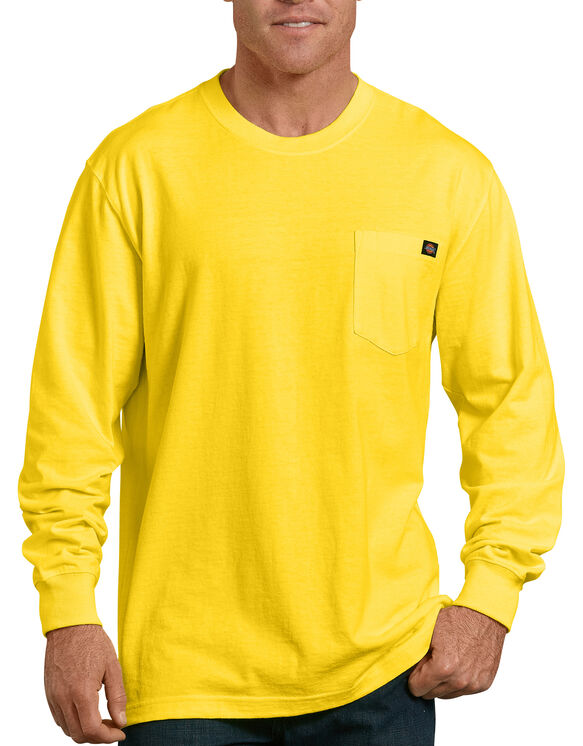 Long Sleeve Heavyweight Neon Crew Neck T-Shirt - Bright Yellow (BWD)