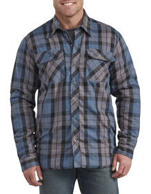 Dickies X-Series Modern Fit Snap-Front Shirt Jacket - Navy Blue White Plaid (PUO)