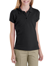 Girls' Short Sleeve Pique Polo Shirt,  7-20 - Black (BK)