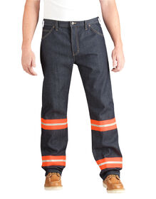 High Visibility Non-ANSI Relaxed Fit Jean - INDIGO BLUE WITH ANSI ORANGE (NBAO)