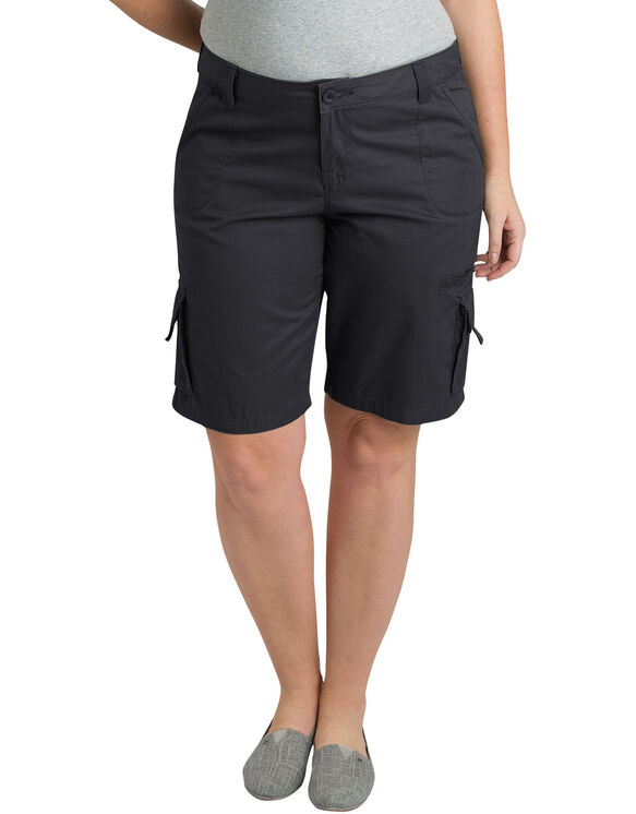 "Women's 10"" Relaxed Fit Cotton Cargo Shorts (Plus) - Rinsed Black (RBK)"