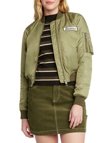 Dickies Girl Juniors' Zip Front Utility Bomber Jacket - Olive Green (OLI)
