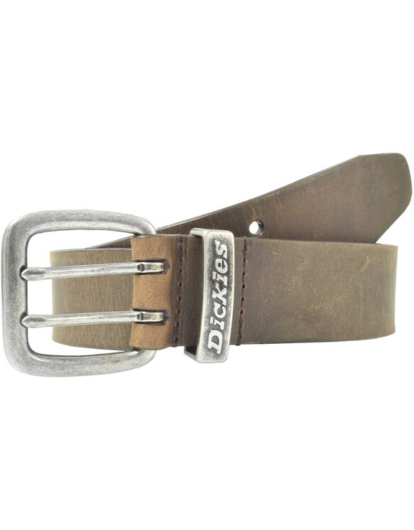 Double Prong Buckle Leather Belt - Tan (BR)