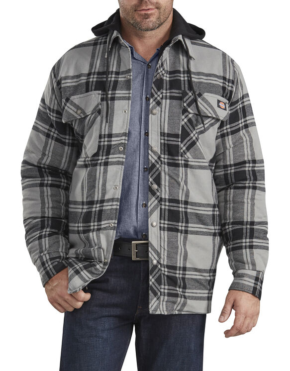 Relaxed Fit Icon Hooded Quilted Flannel Shirt Jacket - Gray Black Plaid (POK)